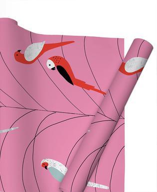 Tropicana - Birds on Branch Pink -Geschenkpapier