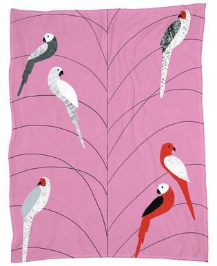Tropicana - Birds on Branch Pink -Fleecedecke