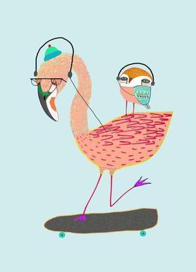 Flamingo and Owl Headphones canvas doek