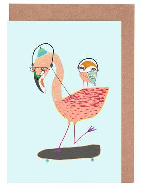 Flamingo and Owl Headphones Greeting Card Set