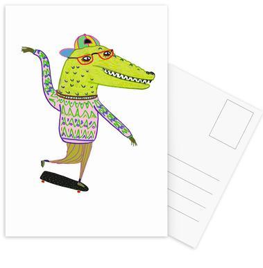 Crocodile Skater Set de cartes postales