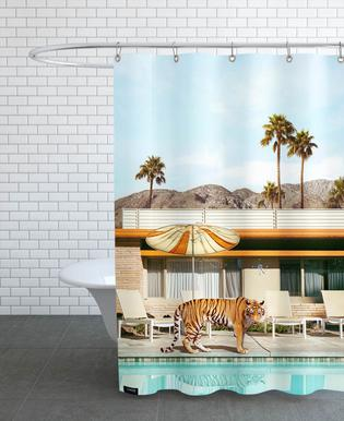 Pool Party Tiger Shower Curtain