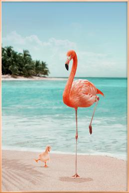 Wannabe Flamingo Poster in Aluminium Frame