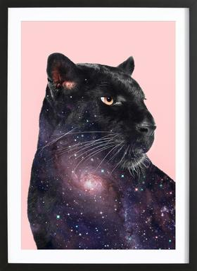 Galaxy Panther Poster in Wooden Frame