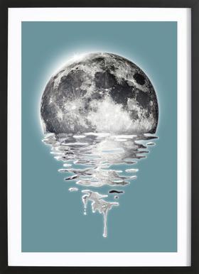 Melting Moon Poster im Holzrahmen