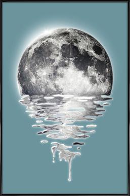 Melting Moon Poster in Standard Frame