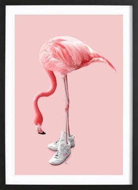 Sneaker Flamingo Poster in Wooden Frame