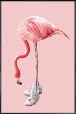 Sneaker Flamingo Poster in kunststof lijst