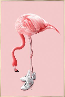 Sneaker Flamingo Poster in aluminium lijst