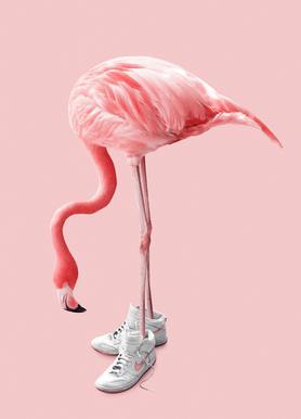 Sneaker Flamingo -Leinwandbild