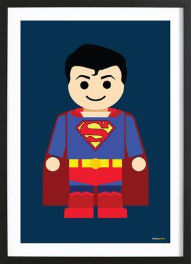 Superman Toy Affiche sous cadre en bois