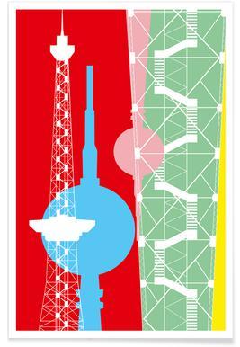 Berliner Fernsehturm + Funkturm Affiche