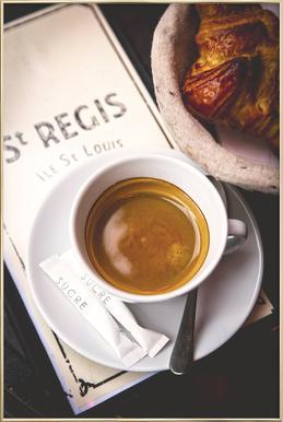 Café Poster im Alurahmen