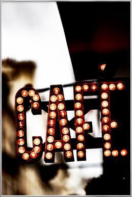 Café affiche sous cadre en aluminium