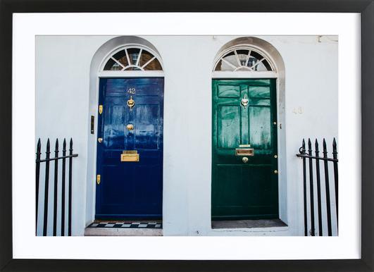London Doors Poster im Holzrahmen