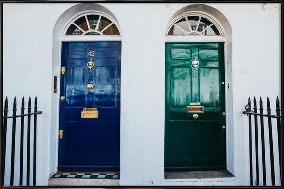London Doors Poster im Kunststoffrahmen