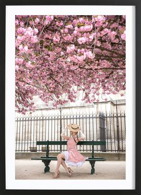 Lady at the Cherry Blossom Poster in Wooden Frame