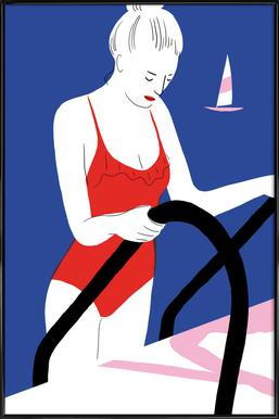 Hot Hot Summer - Lady and Boat Affiche sous cadre standard