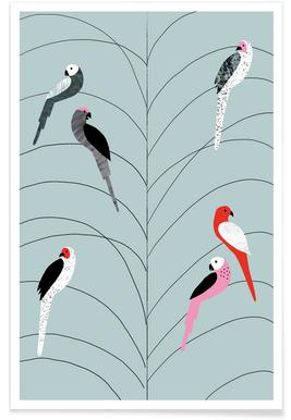 Vögel auf Ast-Grau-Illustration -Poster