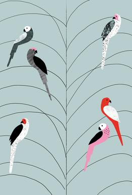 Tropicana - Birds on Branch Grey Aluminium Print