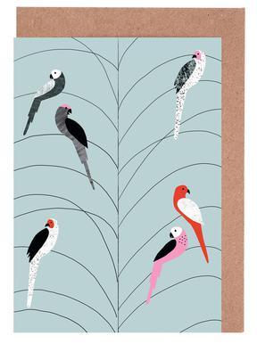 Tropicana - Birds on Branch Grey Greeting Card Set