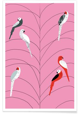 Tropicana - Birds on Branch Pink Poster