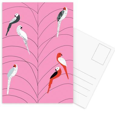 Tropicana - Birds on Branch Pink Postcard Set