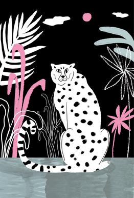 Tropicana - Cheetah and Jungle Acrylic Glass Print