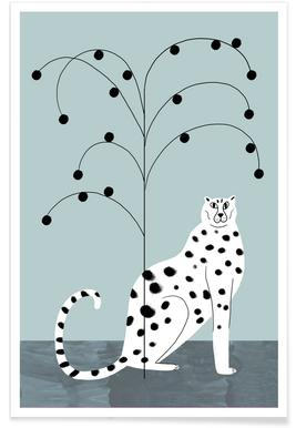 Cheetah and Tree Illustration Poster