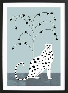 Tropicana - Cheetah and Tree -Bild mit Holzrahmen