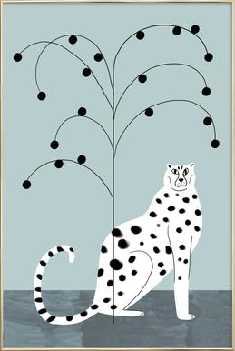 Tropicana - Cheetah and Tree -Poster im Alurahmen
