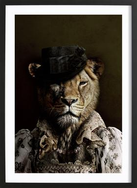 Classy Lioness Poster in Wooden Frame