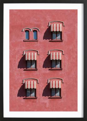 Red Vintage Wall -Bild mit Holzrahmen
