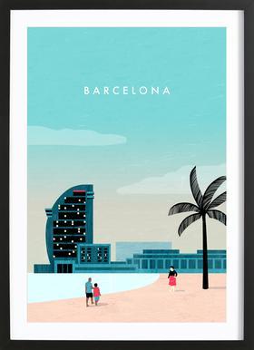 Barcelona Poster in Wooden Frame