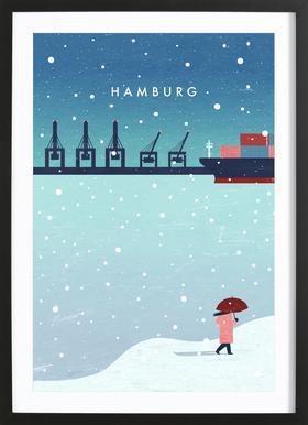 Hamburg Im Winter Poster im Holzrahmen