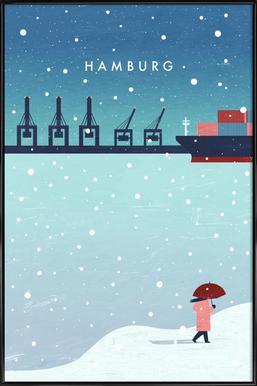 Hamburg Im Winter Poster im Kunststoffrahmen