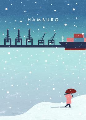 Hamburg Im Winter Lærredstryk