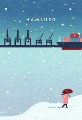 Hamburg Im Winter tableau en verre