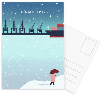 Hamburg Im Winter Ansichtkaartenset