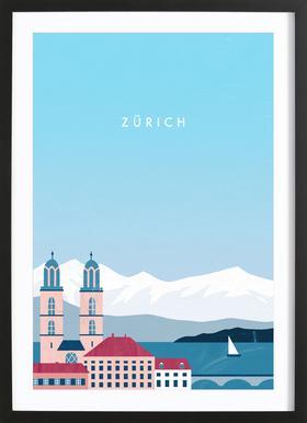 Zürich Poster im Holzrahmen