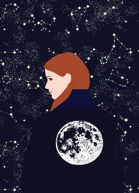 Back to the Moon -Leinwandbild
