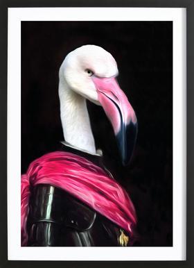 Mingo the Pink Knight Affiche sous cadre en bois