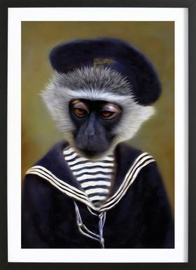 The Sad Monkey Affiche sous cadre en bois