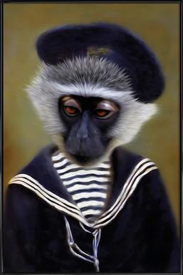 The Sad Monkey -Bild mit Kunststoffrahmen