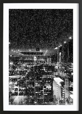 Rainy Megalopolis by @tungsxx affiche sous cadre en bois