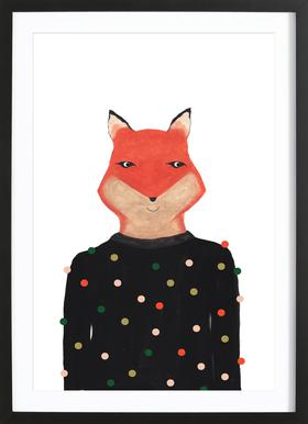 Fox with Sweater Framed Print