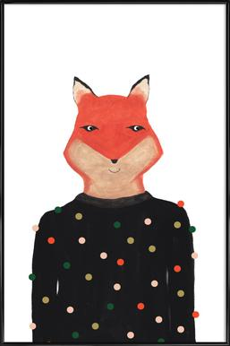 Fox with Sweater Poster in Standard Frame
