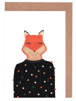 Fox with Sweater Set de cartes de vœux
