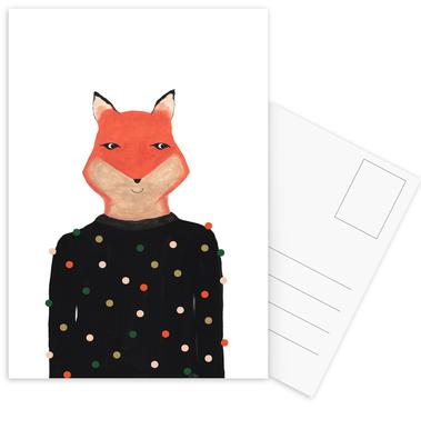 Fox with Sweater Postcard Set