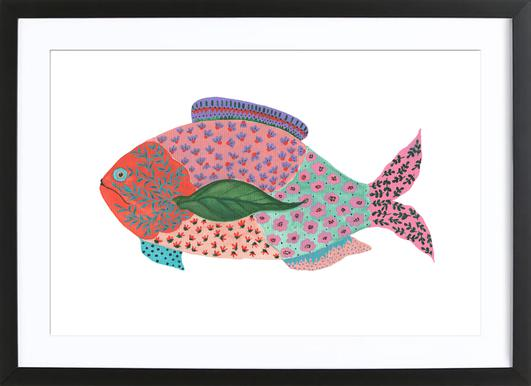 Fancy Fish Poster in Wooden Frame